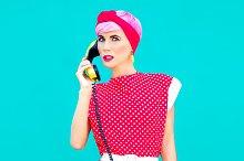 fashion portrait of retro style girl