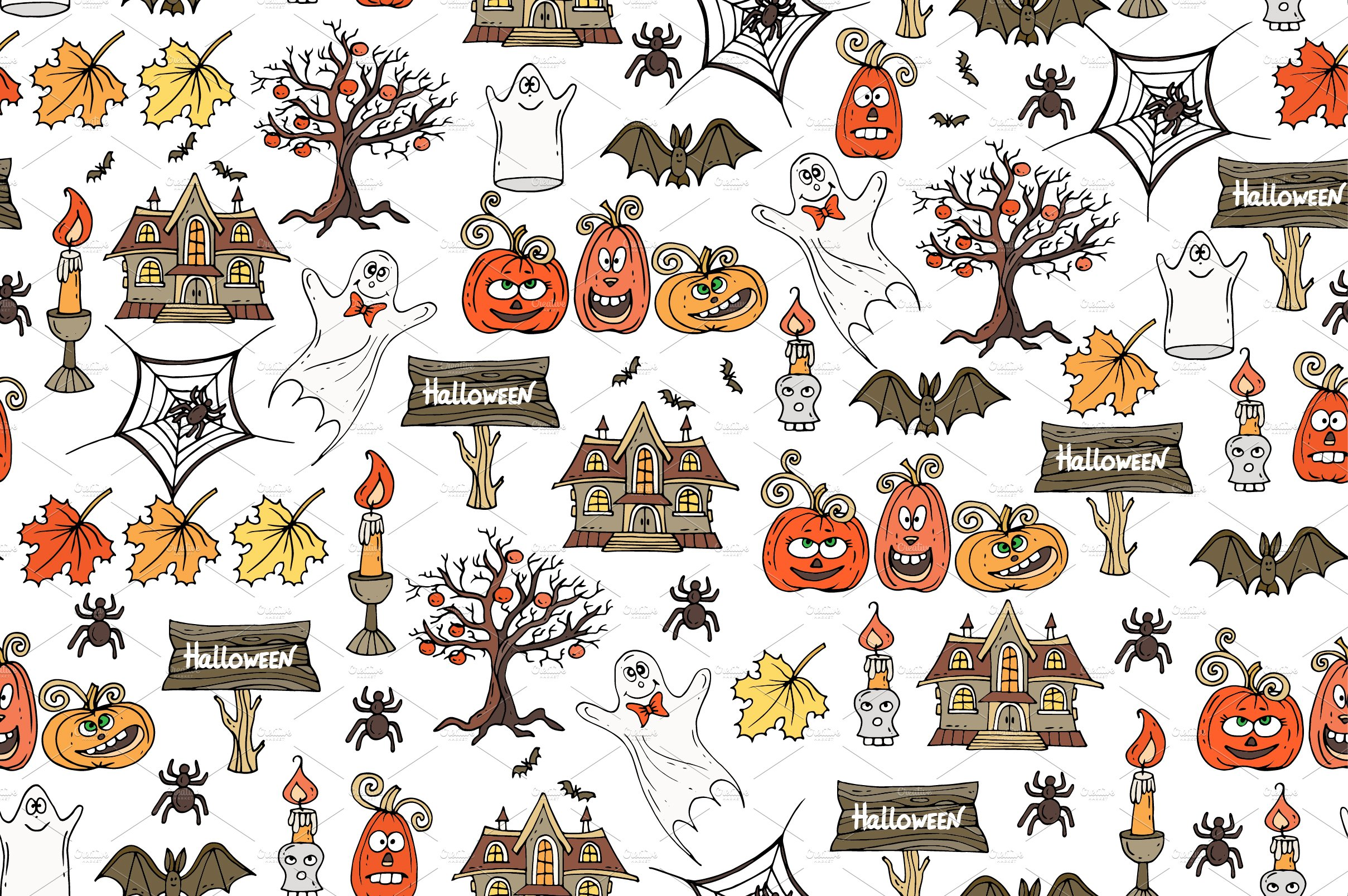 Pattern on the theme of Halloween ~ Patterns ~ Creative Market