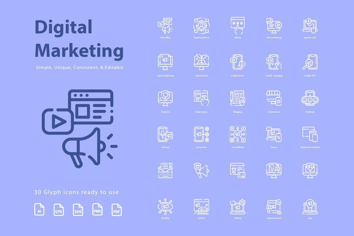 Digital Marketing Lineart Icons