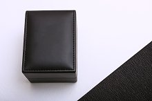 Mockup. Black leather box.