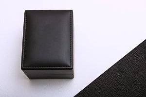 Mockup. Black leather box.