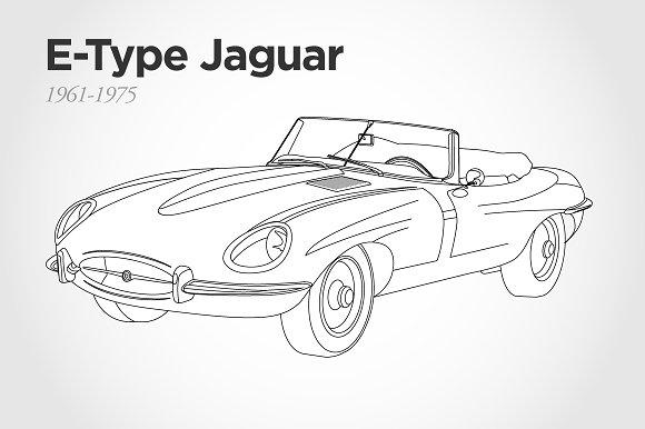 Line Drawing Jaguar : E type jaguar vector illustration illustrations