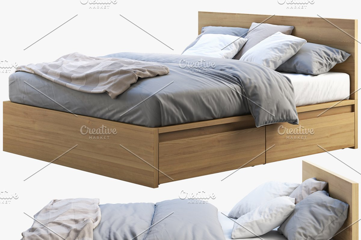 Double bed with storage boxes 3d