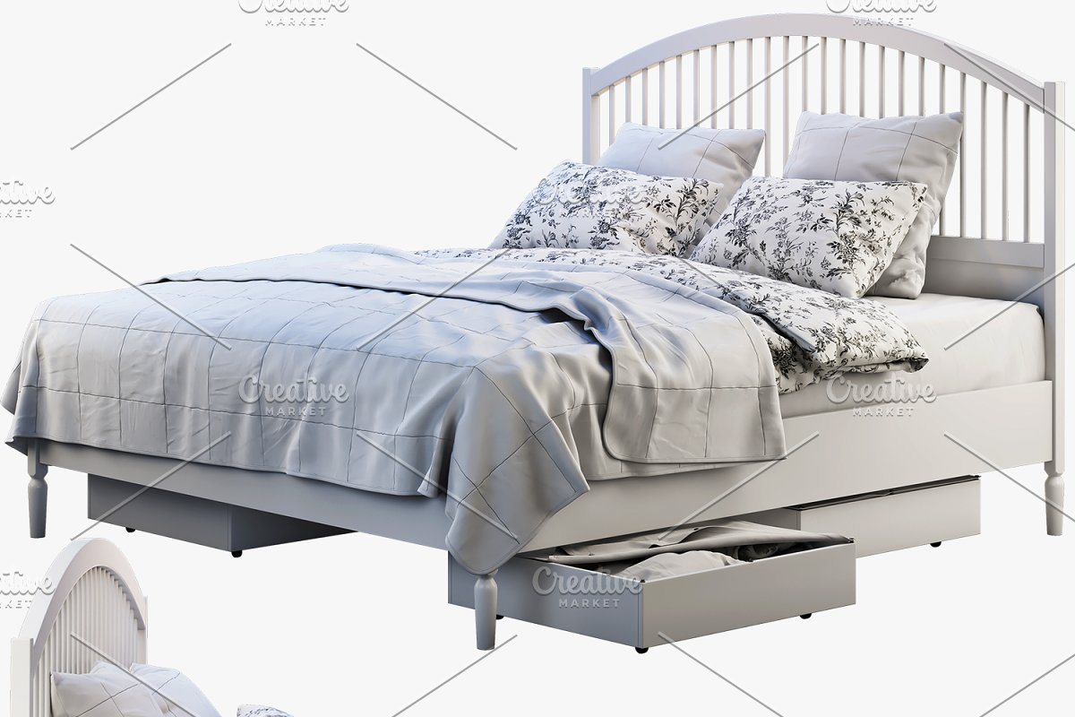 Double bed with headboard 3d model