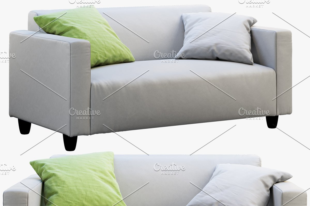 Two-seat leather sofa 3d model