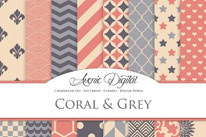 Coral and Grey Digital Paper