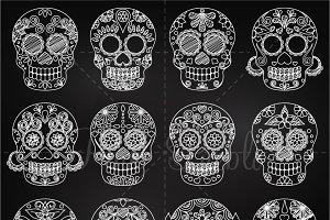 Chalkboard Day of the Dead Skulls