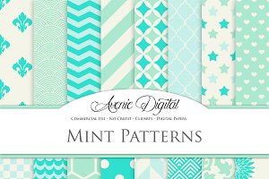 Mint and Aqua Digital Paper Patterns
