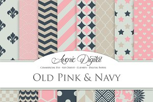Old Pink and Navy Digital Paper