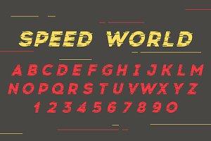 Vector font. Speed world.