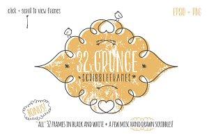 32 Handdrawn Grunge Scribble Frames