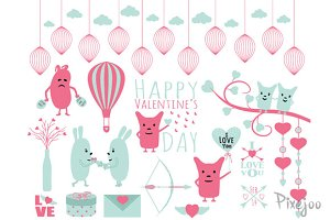 Happy Valentine's Clipart Set