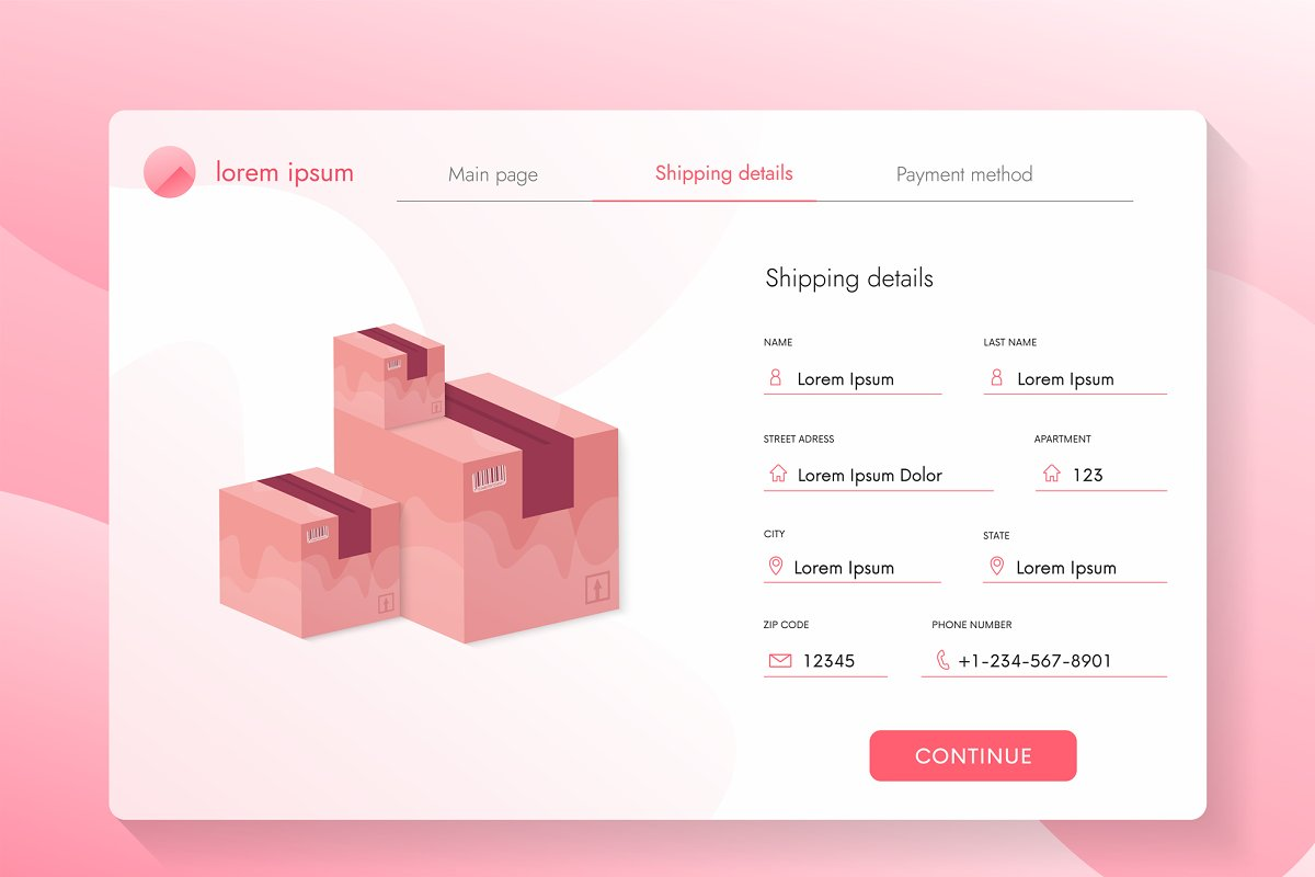 Ui store shipping, payment web page