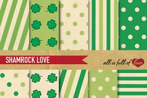 Vintage Shamrock Green Patterns