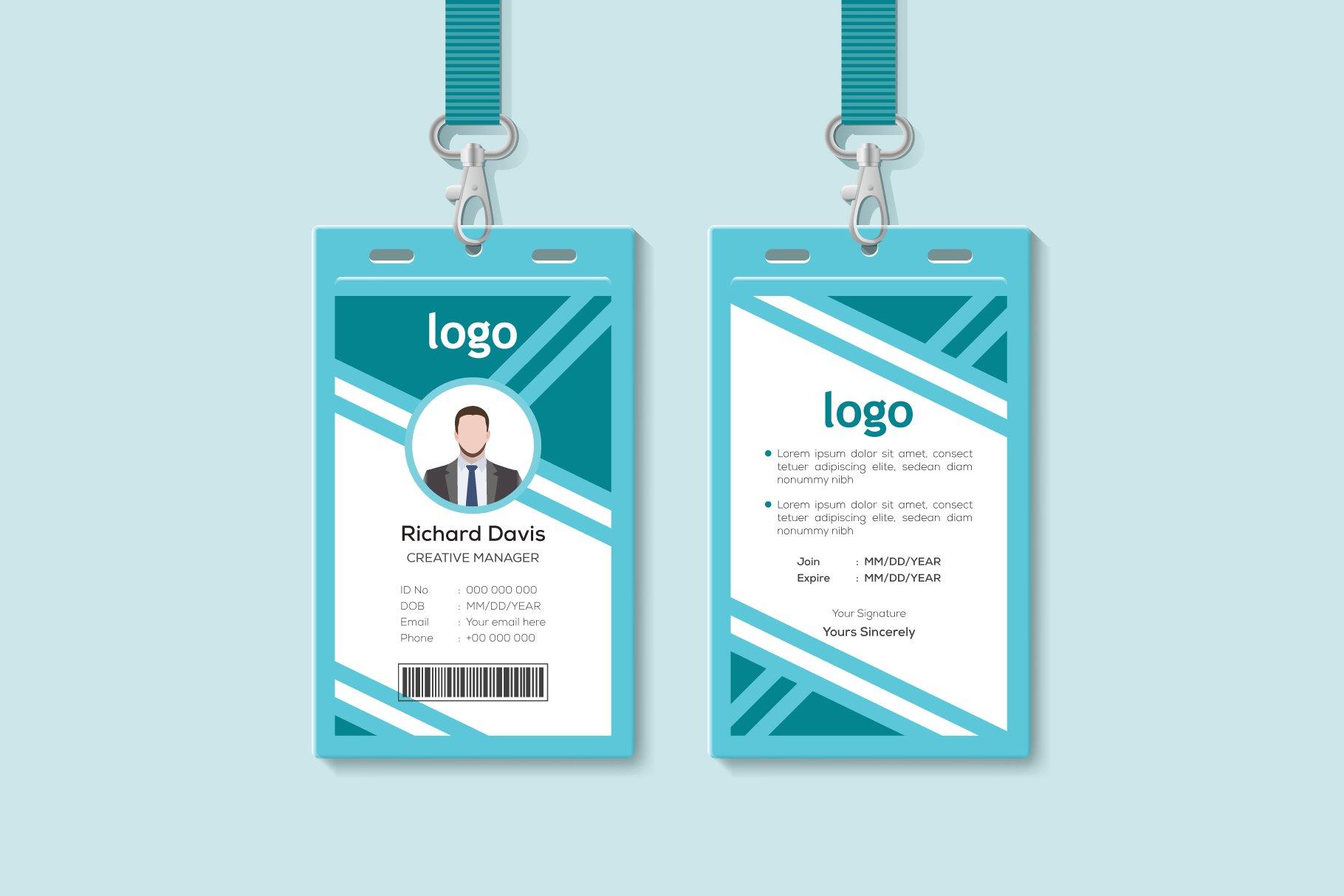 Corporate ID Card Design Template  Creative Daddy For Company Id Card Design Template