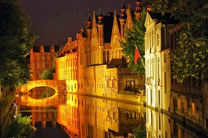 Bruges Reflections at Night