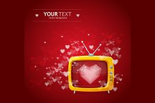 Heart and tv Valentines day card