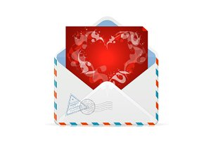 Heart and mail Valentines day card