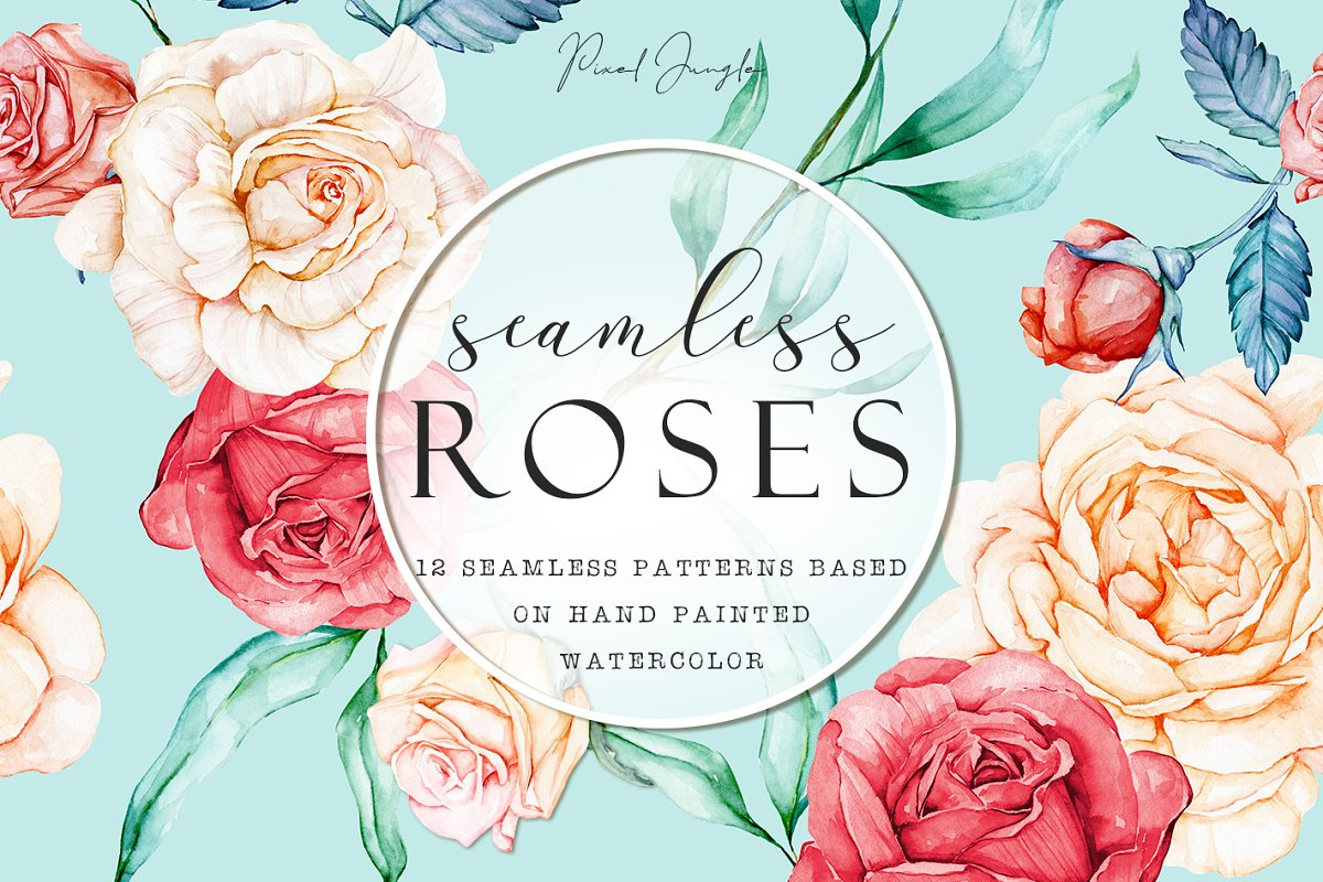 Seamless watercolor papers w/ roses