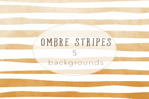Ombre watercolor autumn stripes