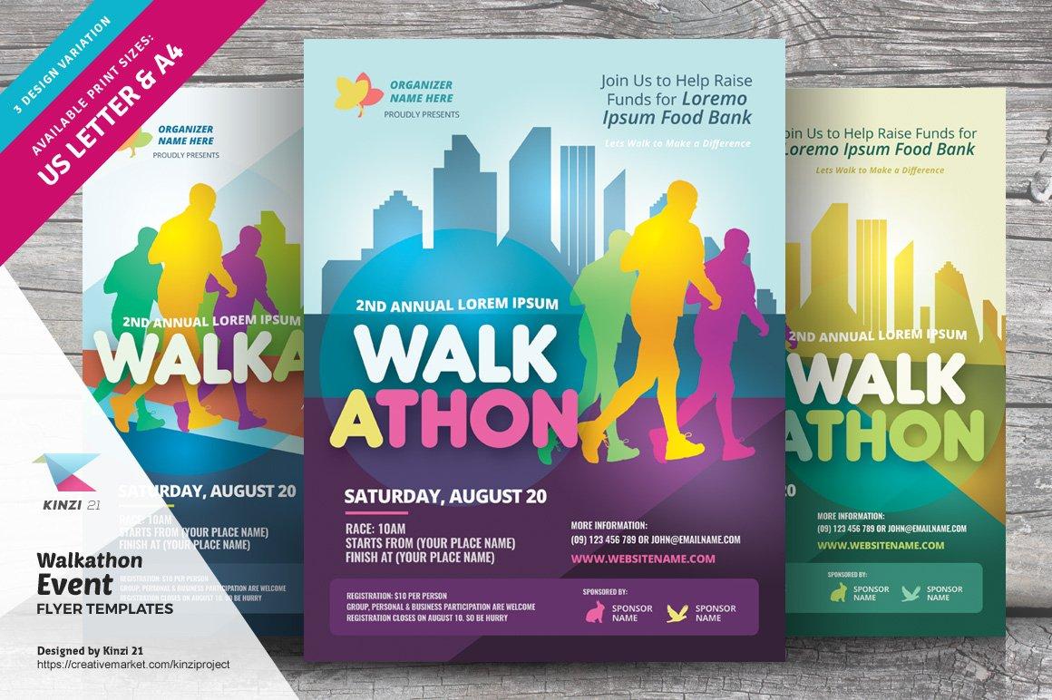 Walkathon Event Flyer Templates Creative Photoshop Templates