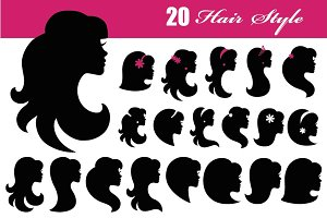Girl face silhouette icon.Hair style