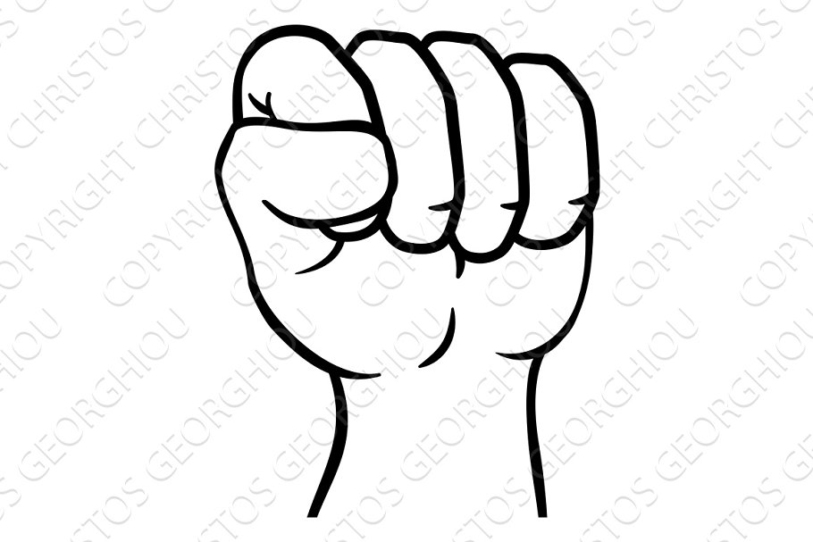 Fist Up Hand Punch Cartoon Icon