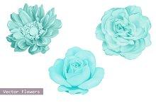 Set of Blue Flowers: Dahlia and Rose