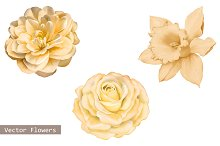 Yellow Camellia, Rose,Daffodil