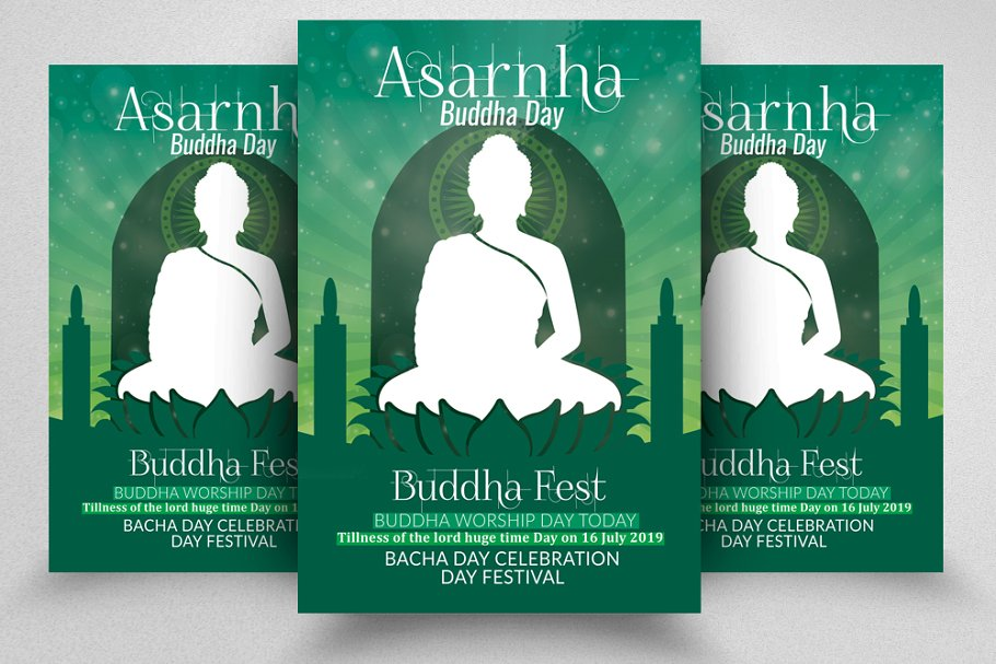 Asarnha Bucha Worship Flyer Tamplate