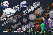 Low Poly Game City Buildings Trees