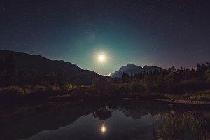 Starry night and moonlight