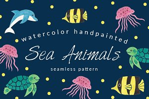 Sea Animals Seamless Pattern Pack