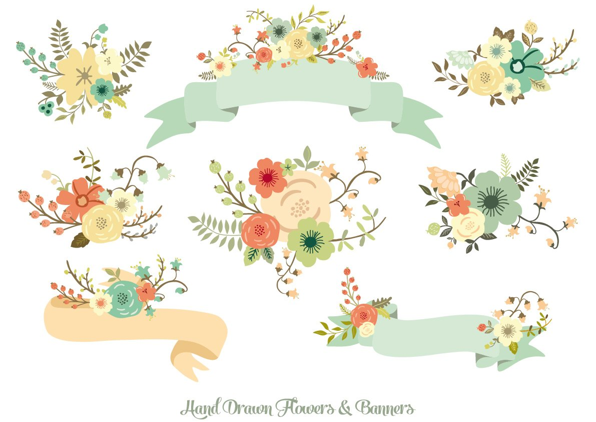 hand drawn flowers banners illustrations creative market. Black Bedroom Furniture Sets. Home Design Ideas