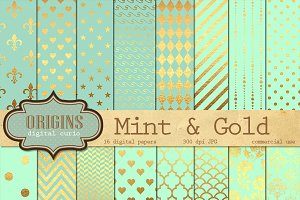 Mint and Gold Textures Digital Paper