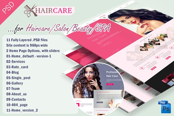 Hair care salonbeauty psd template website templates creative hair care salonbeauty psd template websites urmus Images