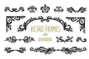 Retro frames, dividers,elements