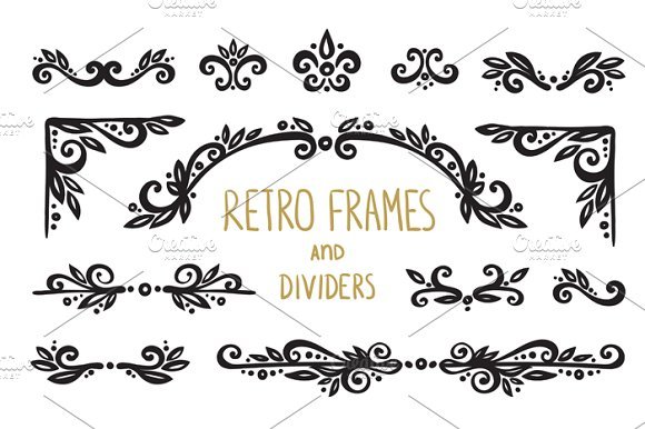 Retro frames, dividers,elements ~ Graphic Objects ~ Creative Market
