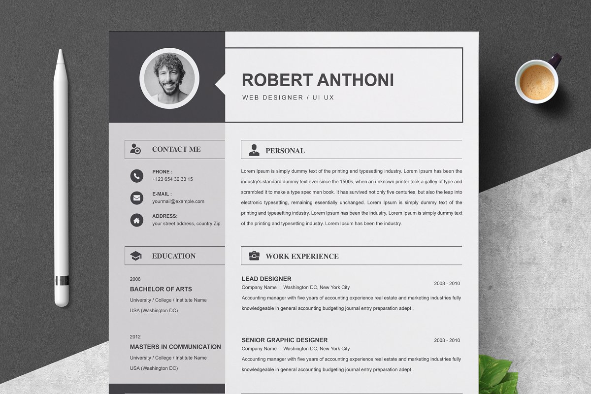 2 Pages Resume Template / CV Design | Creative Daddy