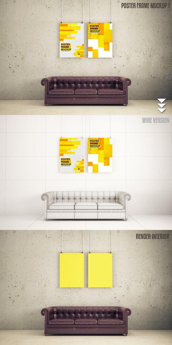 Interior poster frame mock-up