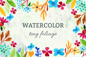 Watercolor tiny foliage