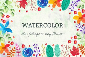 Watercolor Foliage And Flowers