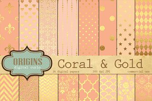 Coral and Gold Texture Digital Paper