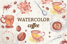 Watercolor Coffee Elements