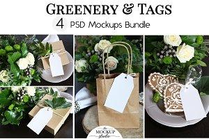 Tag Mockup Bundle - Greenery Theme
