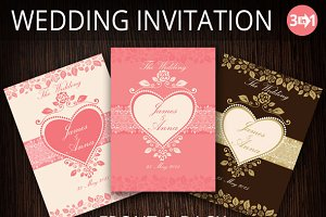 Three Wedding Invitation