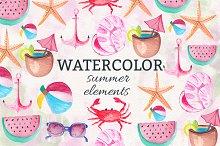 Watercolor Summer Elements