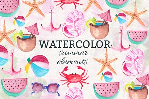 Watercolor Summer Elements