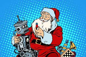 Santa Claus gift robot battery