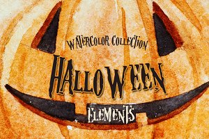Watercolor Halloween Elements
